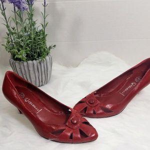 Jeffrey Campbell Red Leather Kitten Heel Pumps